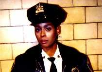 "Alesia in uniform on ""Homicide"" set"