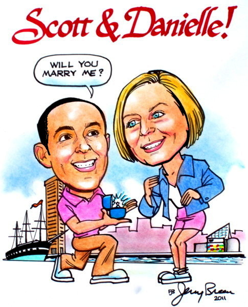 wedding proposal caricature marriage proposal cartoon Marry me caricature gift caricature