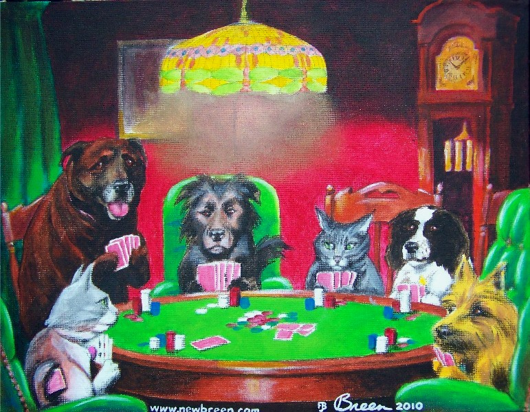 dogs playing poker painting pet painting pet portrait