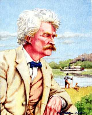 Baltimore portrait from photo of Mark Twain