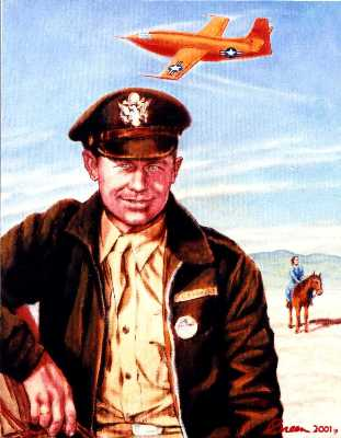 Baltimore portrait from photo of Chuck Yeager