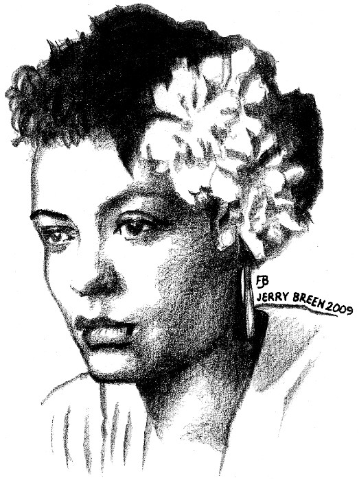 Billie Holiday portrait Baltimore Maryland portrait drawing