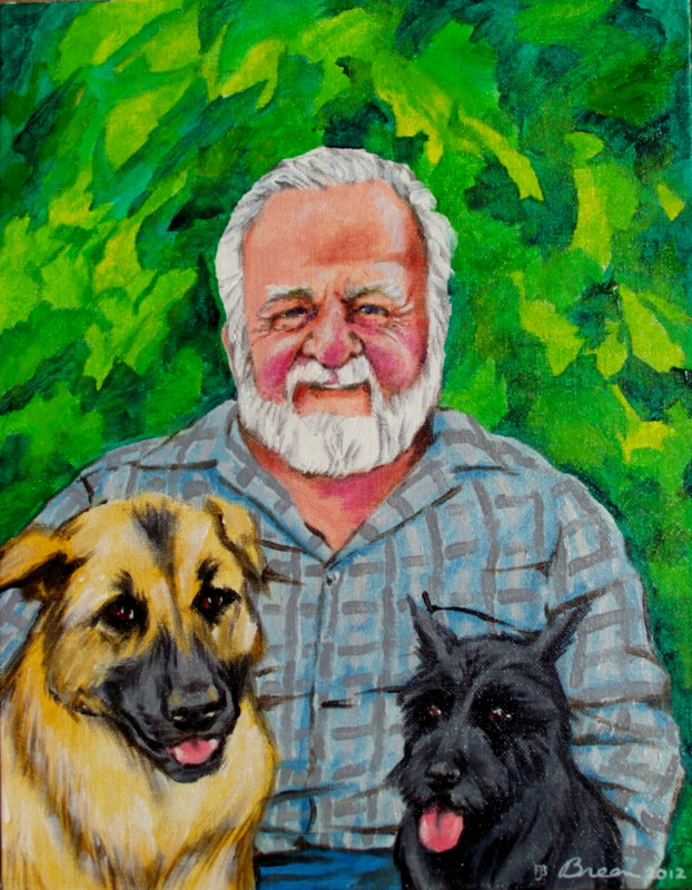 father's day gift father's day portrait father's day painting  Dad and dogs painting